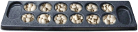 Mancala, Mancala is played with seven pits per player, six playing pits plus one score pit, called the Kalaha. This is a very old game but has not lost it's charm as a good math teacher as well as challenging enough that adults still like to play the game.